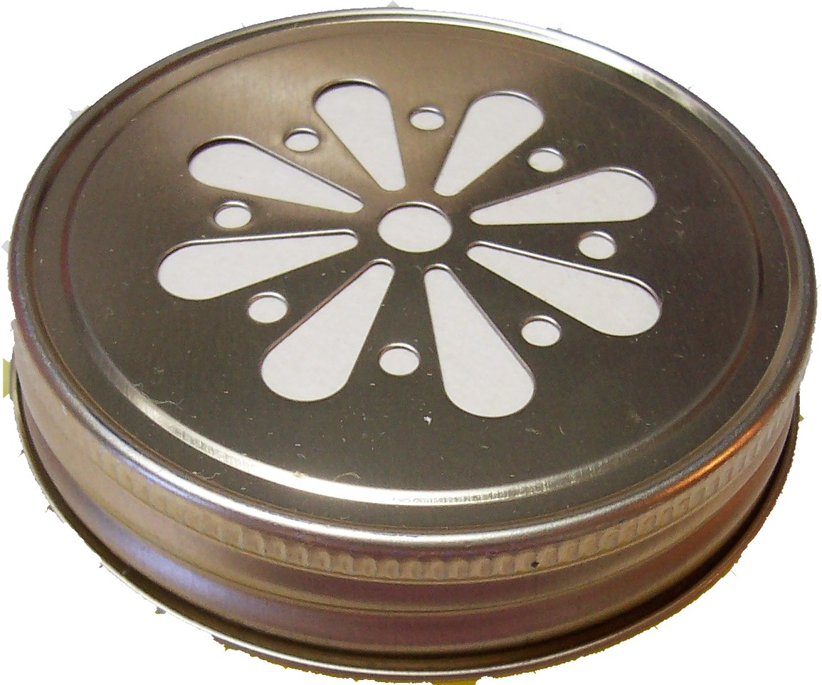 1 Dozen Gold Vented Daisy Lids 70 mm with removable disc liners