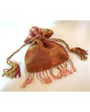 "Champagne Beaded Organza Bag Pouch 3""x4"""