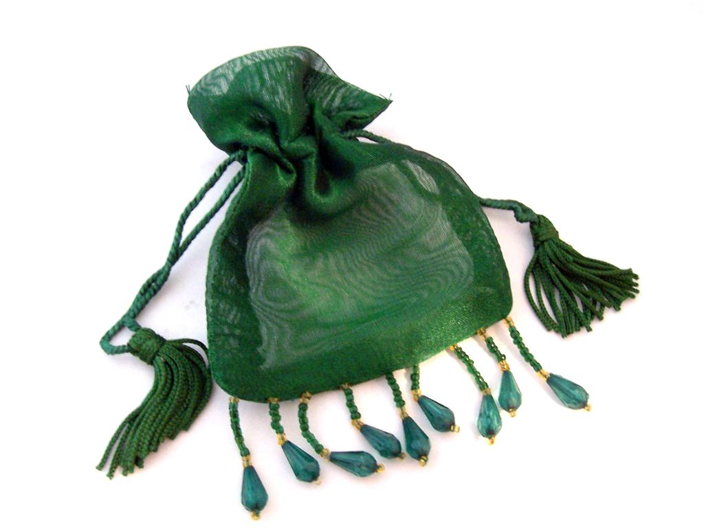 "Beaded Trim Organza Bag 3""x4"""