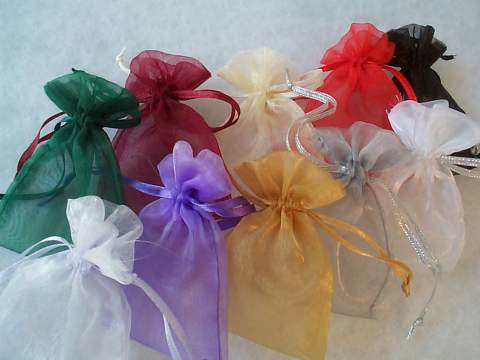 "Assorted Colors Organza Bags 3""x4"" Pkg of 30"