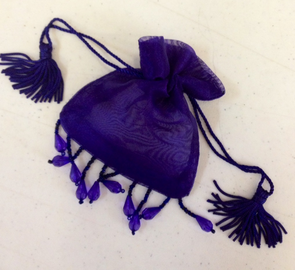 "Purple Beaded Organza Bag Pouch 3""x4"""
