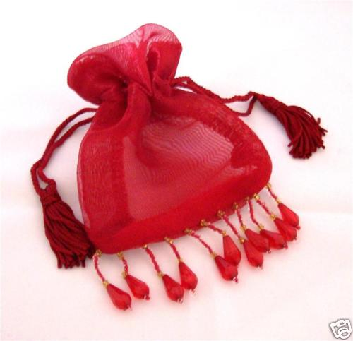 "Red Beaded Organza Bag Pouch 3""x4"""
