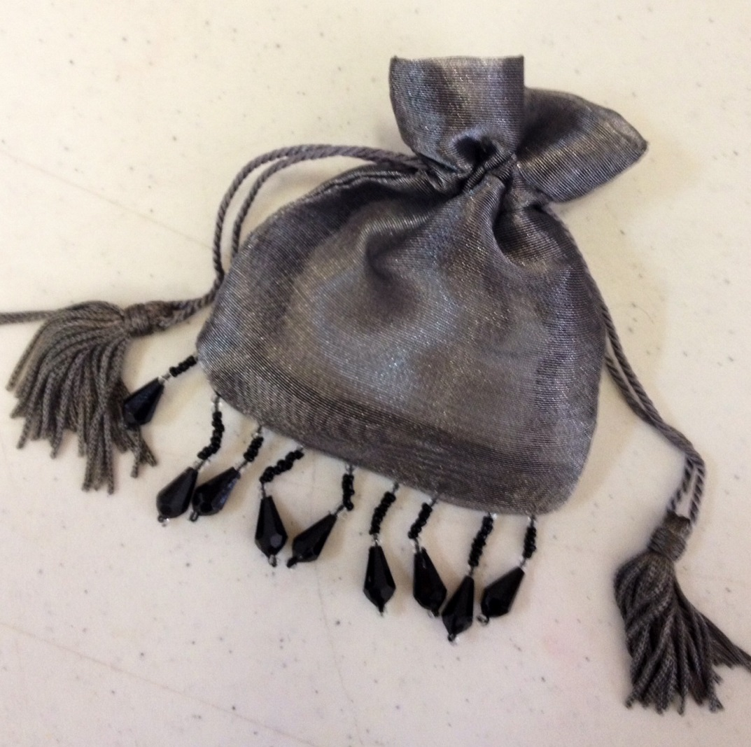 "Silver Beaded Organza Bag Pouch 3""x4"""